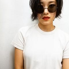 モード 大人女子 黒髪 ショート ヘアスタイルや髪型の写真・画像