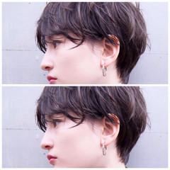 暗髪 丸みショート 愛され ベージュ ヘアスタイルや髪型の写真・画像