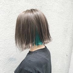 ストリート ブルー ブリーチ ボブ ヘアスタイルや髪型の写真・画像