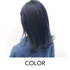 ブリーチオンカラー デザインカラー ネイビー 暗髪 ヘアスタイルや髪型の写真・画像