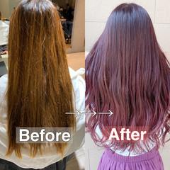 ピンクカラー フェミニン デザインカラー ピンクラベンダー ヘアスタイルや髪型の写真・画像