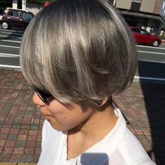 ショート ホワイトグレージュ ショートボブ ハイライト ヘアスタイルや髪型の写真・画像