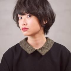 ナチュラル 黒髪 卵型 ショート ヘアスタイルや髪型の写真・画像
