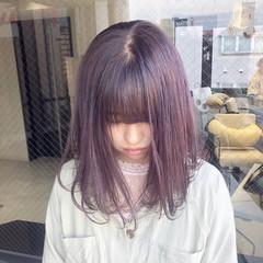 ガーリー ピンクベージュ ミディアム ショートボブ ヘアスタイルや髪型の写真・画像