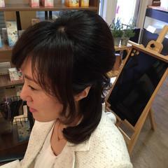 ハーフアップ 大人かわいい フェミニン ヘアアレンジ ヘアスタイルや髪型の写真・画像