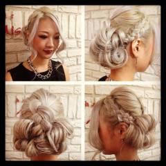 ヘアアレンジ ハイトーン 編み込み かっこいい ヘアスタイルや髪型の写真・画像