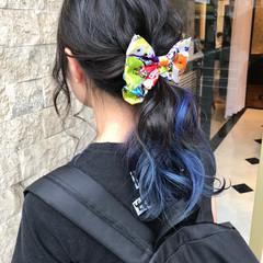 ミディアム インナーカラー ナチュラル 簡単ヘアアレンジ ヘアスタイルや髪型の写真・画像