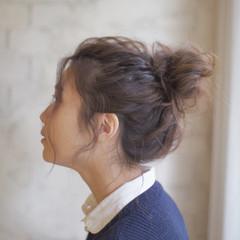 簡単ヘアアレンジ 大人かわいい お団子 ミディアム ヘアスタイルや髪型の写真・画像
