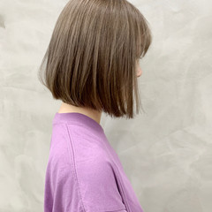 小顔 ナチュラル 透明感カラー 切りっぱなしボブ ヘアスタイルや髪型の写真・画像