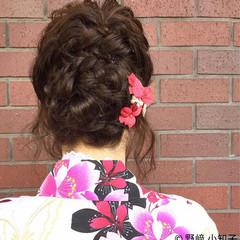 編み込み 夏 ヘアアレンジ くるりんぱ ヘアスタイルや髪型の写真・画像