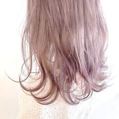 ナチュラル ラベンダー ラベンダーピンク ミディアム ヘアスタイルや髪型の写真・画像