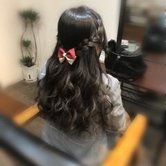 ヘアセット ロング ハーフアップ 編み込み ヘアスタイルや髪型の写真・画像