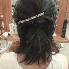 ヘアアレンジ ハーフアップ 編み込み ミディアム ヘアスタイルや髪型の写真・画像