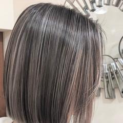ハイライト ナチュラル ボブ グラデーションカラー ヘアスタイルや髪型の写真・画像