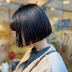 透明感カラー ナチュラル 切りっぱなしボブ ダークトーン ヘアスタイルや髪型の写真・画像