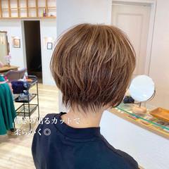 ショート ハイライト ショートボブ ショートヘア ヘアスタイルや髪型の写真・画像