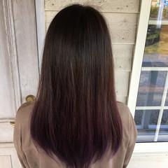 ラベンダーカラー パープルカラー ロング ナチュラル ヘアスタイルや髪型の写真・画像