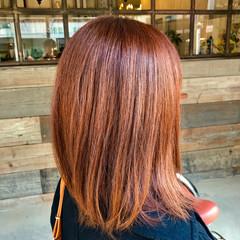 レッド ミディアム トリートメント オレンジ ヘアスタイルや髪型の写真・画像