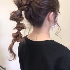 三つ編み ポニーテール ロング ナチュラル ヘアスタイルや髪型の写真・画像