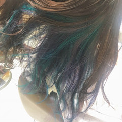 ヘアカラー フェミニン ユニコーンカラー セミロング ヘアスタイルや髪型の写真・画像
