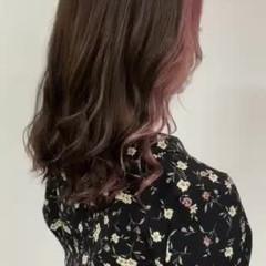 デザインカラー インナーカラー ガーリー ピンク ヘアスタイルや髪型の写真・画像