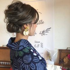 花火大会 ヘアアレンジ グレージュ ボブ ヘアスタイルや髪型の写真・画像