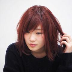 ミディアム ガーリー 冬 ベリー ヘアスタイルや髪型の写真・画像