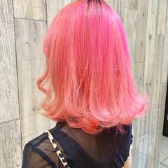 ピンクアッシュ ベリーピンク ラベンダーピンク ミディアム ヘアスタイルや髪型の写真・画像