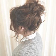 波ウェーブ ミディアム 大人かわいい お団子 ヘアスタイルや髪型の写真・画像