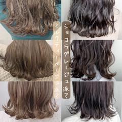 グレージュ インナーカラー ミルクティーベージュ ミニボブ ヘアスタイルや髪型の写真・画像