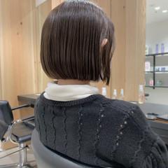 切りっぱなしボブ 透け感ヘア 外国人風フェミニン ミニボブ ヘアスタイルや髪型の写真・画像