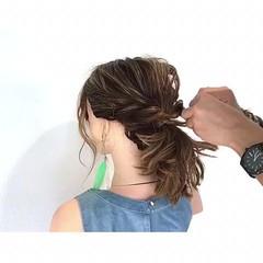 簡単ヘアアレンジ 結婚式 ボブ フェミニン ヘアスタイルや髪型の写真・画像