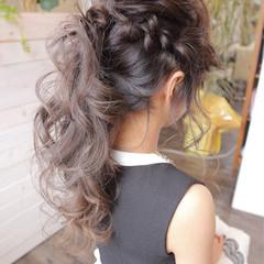 アッシュ ポニーテール ヘアアレンジ ロング ヘアスタイルや髪型の写真・画像
