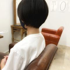 ストレート 暗髪 ショート ナチュラル ヘアスタイルや髪型の写真・画像