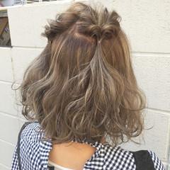 ボブ アッシュ ハイライト ミルクティー ヘアスタイルや髪型の写真・画像