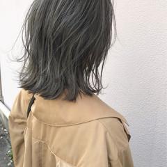 切りっぱなし ハイライト ロブ 外ハネ ヘアスタイルや髪型の写真・画像