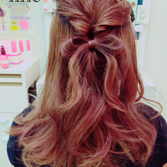 ショート 簡単ヘアアレンジ ハーフアップ セミロング ヘアスタイルや髪型の写真・画像