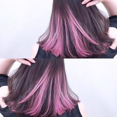 ミディアム ピンク グラデーションカラー 色気 ヘアスタイルや髪型の写真・画像