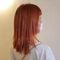 オレンジ モード セミロング オレンジカラー ヘアスタイルや髪型の写真・画像