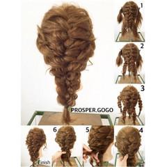 大人かわいい ゆるふわ 三つ編み 編み込み ヘアスタイルや髪型の写真・画像