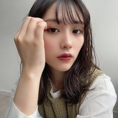 シースルーバング ミディアム 韓国風ヘアー ガーリー ヘアスタイルや髪型の写真・画像