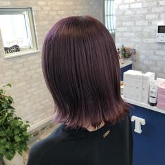 ガーリー 外国人風カラー ピンクバイオレット ブリーチカラー ヘアスタイルや髪型の写真・画像
