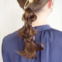 ナチュラル 結婚式 簡単ヘアアレンジ 編みおろし ヘアスタイルや髪型の写真・画像