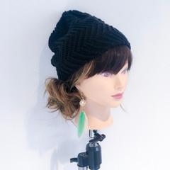 デート ニット 女子会 セミロング ヘアスタイルや髪型の写真・画像