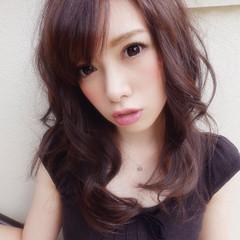 パープル モテ髪 ガーリー セミロング ヘアスタイルや髪型の写真・画像