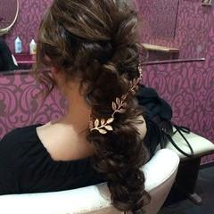 結婚式 ロング エレガント 編み込み ヘアスタイルや髪型の写真・画像