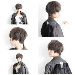ジェンダーレス アッシュ 黒髪 ショート ヘアスタイルや髪型の写真・画像