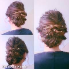 ウェーブ アップスタイル ストリート 暗髪 ヘアスタイルや髪型の写真・画像