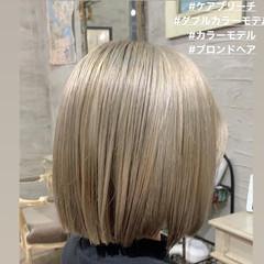 ハイトーンボブ ストリート 切りっぱなしボブ ハイトーンカラー ヘアスタイルや髪型の写真・画像
