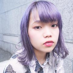 パープル 秋 外国人風カラー ミディアム ヘアスタイルや髪型の写真・画像